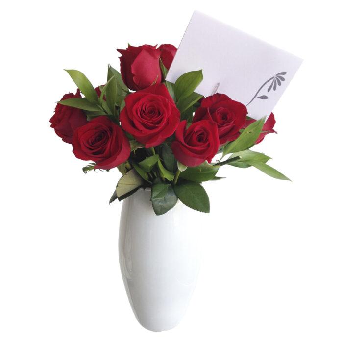 12 Rosas base blanca