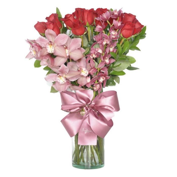 24 Rosas con 2 orquídeas