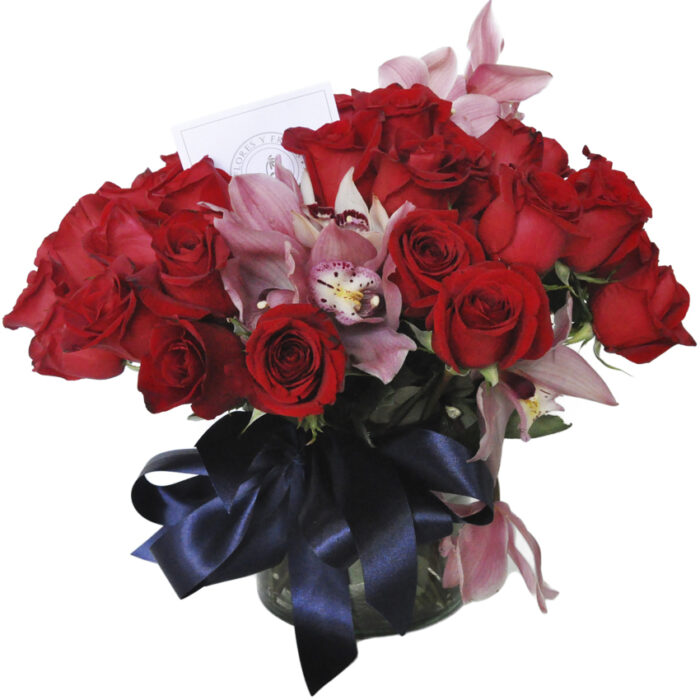 Bouquet 50 rosas con cymbidium