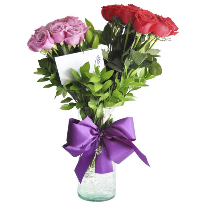 24 Rosas rojas y lila